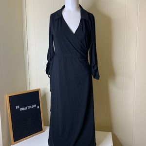 Old Navy Black Collared Wrap Midi Maternity Dress